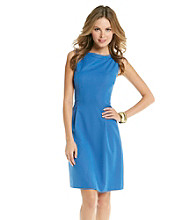 T Tahari® Sleeveless Boatneck Kimber A-Line Dress