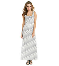 Vince Camuto Sleeveless Scoopneck Bias Stripe Maxi Dress