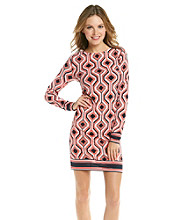 MICHAEL Michael Kors® Geometric Long Sleeve Boarder Dress