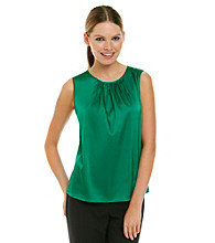 Calvin Klein Pleat Neck Charmeuse Top