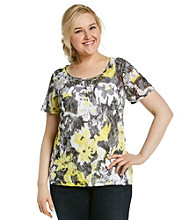 Relativity® Plus Size Ruched Center Burnout Tee