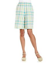 Alfred Dunner® Stretch Waistband Below The Knee Plaid Short