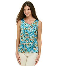 Notations® Scoopneck All Over Print Dull Shine Top