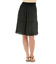 Notations® Stretch Smock Waistband Solid Short Skirt