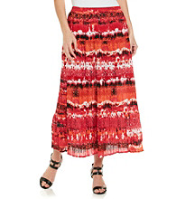 Notations® Stretch Waistband All Over Print Long Skirt