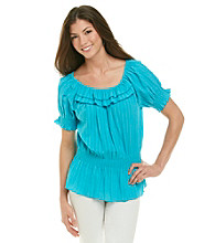 Notations® Scoop Neckline Double Ruffle Solid Peplum Top