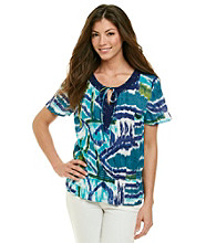 Notations® Open Keyhole All Over Print Peasant Top