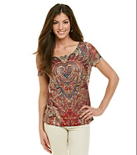 Notations® Printed Embellished Cancan Top