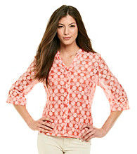 Notations® Mandarin Front Button Up Closure Solid Crochet Layered Look Shirt