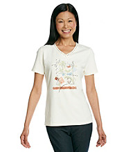 Breckenridge® Petites' Screen Printed V-neck Tee