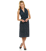 Evan-Picone® Dot Print Matte Jersey Dress