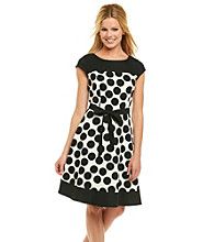 AGB® Dot Print Belted Sheath Dress