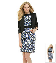 Tahari Stretch Sateen Jacket and Printed Dress