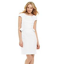 Tahari by Arthur S. Levine® Jacquard Pleat Neck Sheath Dress