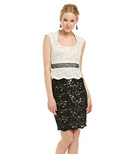 JAX® Two-Tone Lace Peplum Dress