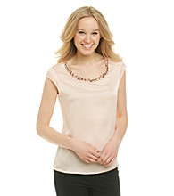 Anne Klein® Jeweled Neck Blouse