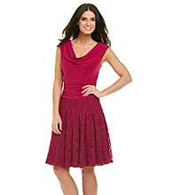 Adrianna Papell® Ruched Bodice Lace Skirt Cocktail Dress