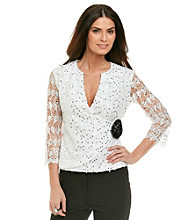 Cachet® Lace Wrap Top