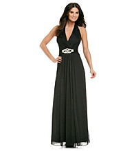 Cachet® Long Halter Gown with Rhinestones