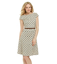 Anne Klein® Dot Herringbone Swing Dress