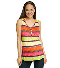 Three Seasons Maternity™ Striped Henley Tank