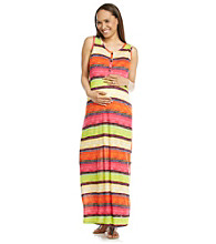 Three Seasons Maternity™ Striped Henley Tank Maxi Dress