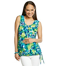Three Seasons Maternity Print Tank with Tie Bottom