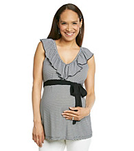 Three Seasons Maternity™ V-Neck Ruffle Stripe Top