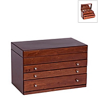 Mele & Co. Brigitte Wooden Jewelry Box in Antique Walnut Finish