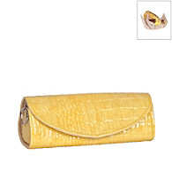 Mele & Co. Jenna Travel Jewelry Roll in Yellow Croco Faux Leather