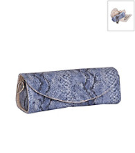 Mele & Co. Lorena Travel Jewelry Roll in Periwinkle Snakeskin Faux Leather