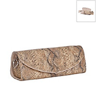 Mele & Co. Lorena Travel Jewelry Roll in Tan Snakeskin Faux Leather