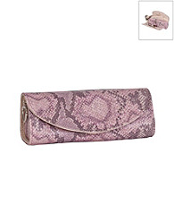 Mele & Co. Lorena Travel Jewelry Roll in Pink Snakeskin Faux Leather