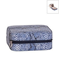 Mele & Co. Lucette Travel Jewelry Case in Periwinkle Snakeskin Faux Leather