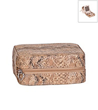 Mele & Co. Lucette Travel Jewelry Case in Tan Snakeskin Faux Leather