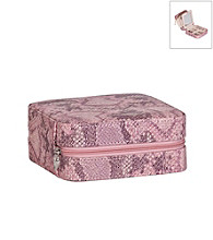 Mele & Co. Lucette Travel Jewelry Case in Pink Snakeskin Faux Leather