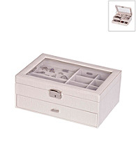 Mele & Co. Colette Glass Top Locking Jewelry Box in Pearl Croco Faux Leather