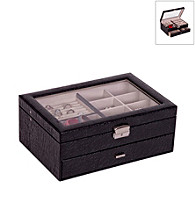 Mele & Co. Colette Glass Top Locking Jewelry Box in Black Croco Faux Leather