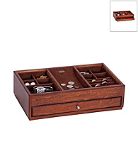 Mele & Co. Landon Wooden Dresser Top Valet in Antique Walnut Finish