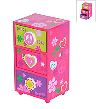 Mele & Co. Daisy Girl's Peace & Love Jewelry Box in Pink