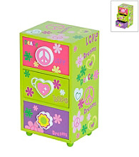 Mele & Co. Daisy Girl's Peace & Love Jewelry Box in Green