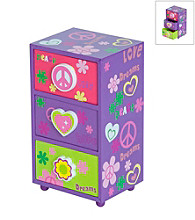 Mele & Co. Daisy Girl's Peace & Love Jewelry Box in Purple