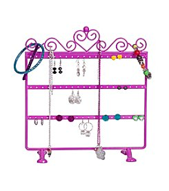 Mele & Co. Kara Metal Scroll and Heart Jewelry Stand in Pink