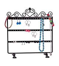 Mele & Co. Kara Metal Scroll and Heart Jewelry Stand in Black