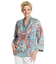 Jones New York Signature® Plus Size Three Button Embellished Tunic