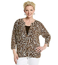 Jones New York Sport® Plus Size Animal Printed Cardigan