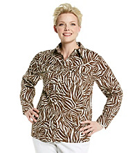 Jones New York Sport® Plus Size Animal Print Buttondown Shirt