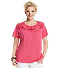 Jones New York Sport® Plus Size Crochet Yoke Top