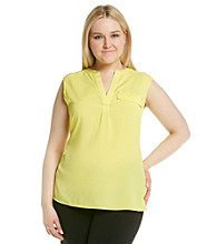 Calvin Klein Plus Size Mixed Media Top
