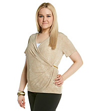 Calvin Klein Plus Size Printed V-Neck Drape Top with Hardware